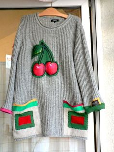 Men/unisex colourful fantasy sweater appliqued with by hand paint cherry.Made from recyclet sweater.Hippie boho.Uniqued design..
