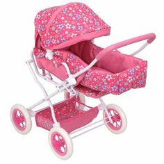 You & Me 3-in-1 Doll Pram - Flowers - Red/Pink by RJ Quality Products. $32.95. Baby dolls love going places; the You & Me Deluxe Convertible Doll Pram, a Toys'R'Us exclusive, is a 3-in-1, multi-functional conveyance that lets you take your baby doll everywhere! Push the seat back flat, and the stroller becomes a pram. The removable fabric carry cot has two handles so you can take your doll anywhere you go. The pram features a retractable canopy, a fabric seat with ...