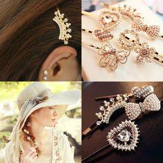 2016 Pearls Crystal Hair Clip Barrettes Hair Accessories Fashion Girls Women Bowknot Heart Crown Flower Cute Headwear Hair Clips