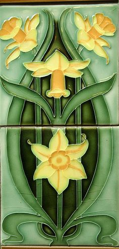 Art Nouveau two-tile set with daffodil motif. Art Nouveau two-tile set with daffodil motif. Motifs Art Nouveau, Azulejos Art Nouveau, Design Art Nouveau, Art Nouveau Tiles, Artistic Tile, Antique Tiles, Decorative Tile, Arts And Crafts Movement, Tile Art