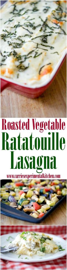 Roasted Vegetable Ratatouille Lasagna made with eggplant, garlic, tomatoes, squash and mushrooms in a cheesy Bechamel sauce can be assembled ahead of time and baked before serving making this a tasty weeknight meal idea.