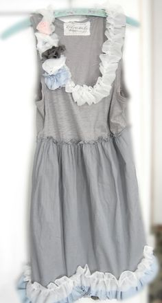 Beach Dress in Greys w Silks and Voile by OfLinenandLace on Etsy