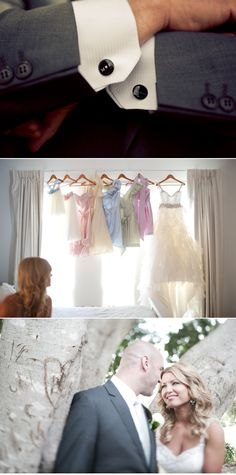 love the different coloured bridesmaid dresses :)