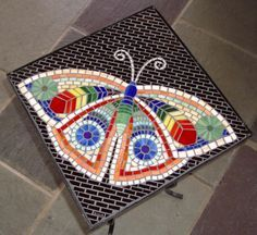 mosaic butterfly table ~ by Jenni Verre Tile Art, Mosaic Art, Mosaic Glass, Mosaic Tiles, Glass Art, Mosaics, Stained Glass, Butterfly Mosaic, Butterfly Table