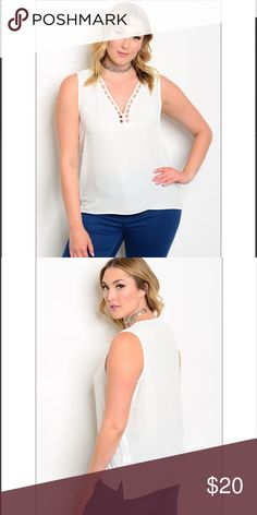 "V-Neck Cutout Detail Top Plus size v- neck top with cutout neckline details.   100% Polyester   Size1X:L:26"" B:44"" W:46""  🚫Trades ✅Bundle and save Fresh Fashion Boutique Tops Blouses"