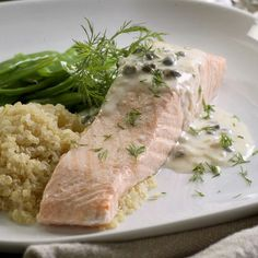 Poached Salmon with Creamy Piccata Sauce - Cheap Dinner-Party Recipes: Elegant Main Courses Under 3 dollars per Serving.