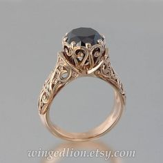 8b3aa4797583 The ENCHANTED PRINCESS Black Diamond 14k rose gold engagement Anillos De  Compromiso De Oro