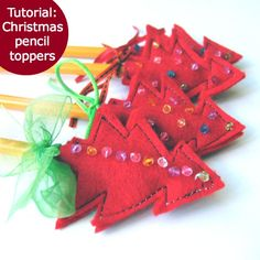 Simple Christmas tree pencil toppers - template & instructions provided.