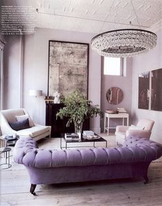 Luxury, Lavender Tufted Sofa, Aged Mirror, Interior Design, Living Room  Design Decorating Design Decorating Before And After Part 92