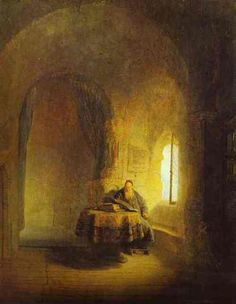 Philosopher Reading, by Rembrandt, 1631, Oil on canvas - in Nationalmuseum, Stockholm, Sweden.