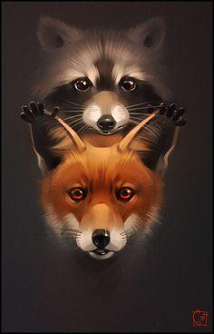 Fox and Racoon :: By Artist Alexandra Khitrova Raccoon Art, Racoon, Fox Art, Raccoon Tattoo, Cute Animal Drawings, Cute Drawings, Tattoos Fuchs, Fox Drawing, Wildlife Art