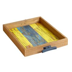 """14"""" Blue/Yellow Nautical Flag Wooden Tray 