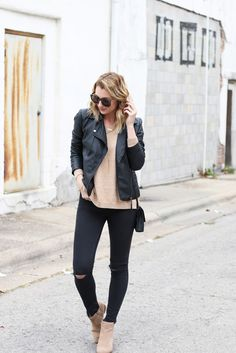 Beige sweater, moto jacket, black skinny jeans, suede taupe booties