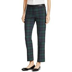 Tommy Hilfiger women's pant. Inject a bit of Scottish flare into your wardrobe with these iconic black watch plaid pants. We added extra stretch to hug the curves and cropped them to flaunt those heels. Our favorite part? The edgy, leather-like trim. <br/>• Sits lower on the waist, fitted through the hip and thigh.<br/>• 52% synthetic, 46% wool, 2% elastane.<br/>• Trouser styling, zip pocket, cropped.<br/>• Machine washable.<br/>• Imported.<br/><…