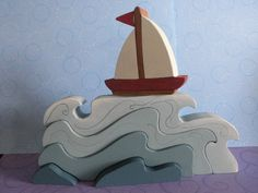 Kids Wooden Toy Sailboat this would be so cute in the ocean bathroom!Kids Wooden Toy Sail Boat by MomNmee on Etsy Wooden Crafts, Wooden Diy, Diy And Crafts, Projects For Kids, Diy For Kids, Wood Projects, Woodworking Toys, Waldorf Toys, Wooden Puzzles