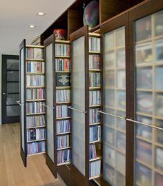 Semi-translucent sliding book shelves, interior design, home decor, shelves, shelving, furniture, storage