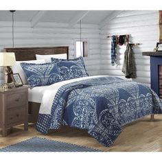 Chic Home 3 Piece Napoli Reversible Printed Quilt Set, Queen, Navy Navy Blue Bedding, Blue Bedding Sets, Comforter Sets, Beige, Quilt Bedding, Twin Quilt, Quilt Sets, Bed Spreads, Luxury Bedding