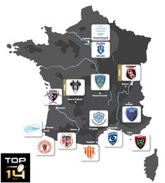 France map of rugby TOP 14 teams Rugby 7's, Rugby Sport, French Rugby, Rugby Championship, All Blacks, Rugby League, France Map, Top 14, Alpha Male