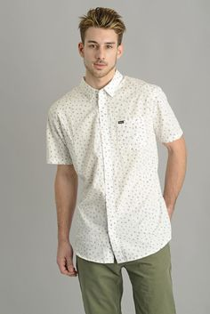 RVCA Mens Short Sleeve White Angles Button Down Shirt | South Moon Under