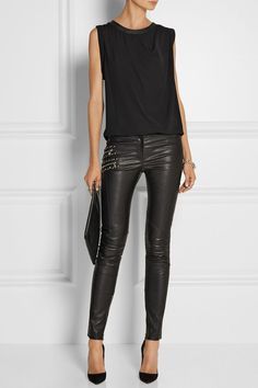 # Versace- Alles schwarz Winter Outfits Frauen - Outfits with leggings - Hybrid Elektronike Legging Outfits, Leather Leggings Outfit, Faux Leather Leggings, Outfits With Leather Leggings, Leather Outfits, Mode Outfits, Fall Outfits, Casual Outfits, Outfit Winter