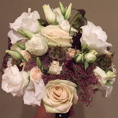 #lisianthus #majolica #roses #scabiosa pods #Scabiosa #chocolatequeenanneslace #bridal #bouquet #flower-arrangement #deep-colors