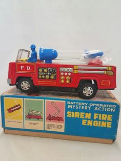 VINTAGE NIB YANOMAN TOYS JAPAN TIN FIRE TRUCK ENGINE SIREN 5850 NEW W/ BOX   eBay Truck Engine, Tin Toys, Fire Trucks, Engineering, Japan, Box, Vintage, Okinawa Japan, Snare Drum