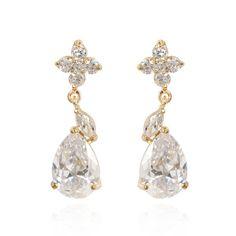 1x3cm Fashion Flower Water Drop 18K Gold Plated Copper Earring Inlaid White Zircon Ladies Earrings