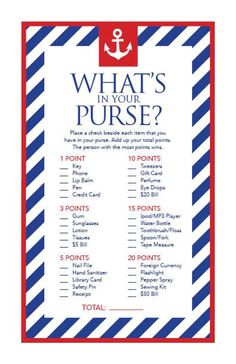 Game Cards What's in your bag, printable party cards for Sailor Baby Shower party, printable party sheets for - Baby Showers Sailor Baby Showers, Anchor Baby Showers, Nautical Bridal Showers, Shower Party, Baby Shower Parties, Baby Shower Themes, Baby Shower Decorations, Shower Ideas, Nautical Theme Baby Shower