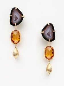 Orange zircon, agate, and yellow gold finished earrings | Alanna Bess
