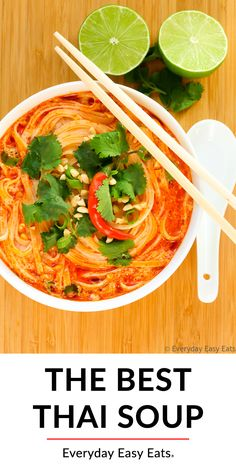 This easy Thai soup recipe is the best ever! It is made with rice noodles in a creamy spicy red coconut curry broth. Vegetarian vegan and gluten-free. Thai Soup Vegetarian, Spicy Thai Soup, Thai Red Curry Soup, Coconut Curry Soup, Red Thai Curry Vegetarian, Thai Vegetable Soup, Thai Noodle Soups, Spicy Thai Noodles, Thai Vegan