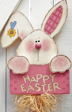 Happy Easter Bunny Yard Sign Wood Bunny Rabbit Yard Stake Outdoor Painted Wood Lawn Decoration Yard Stick Easter Sign Tole Bunny Spring Pink - Happy Easter Bunny Yard Sign, Size Bunny/Sign 14 x 11 inches, Total Height 36 inches ~ Wish eve - Easter Projects, Easter Crafts, Easter Ideas, Spring Crafts, Holiday Crafts, Wood Crafts, Diy And Crafts, Easter Paintings, Happy Easter Bunny