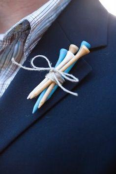 golf course wedding boutonnieres | diy Wedding Crafts: Golf Tee Boutonniere - diyweddingsmag.com