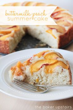 Buttermilk peach summer cake from The Baker Upstairs. A delicious moist cake topped with juicy fresh peaches. So easy to make, and the perfect summer dessert! www.thebakerupstairs.com