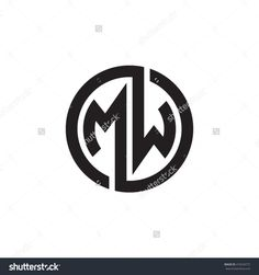 MW initial letters looping linked circle monogram logo