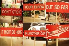 1950's burma shave signs - yahoo Image Search Results
