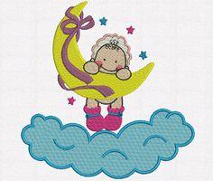 Bordados Creative: Bordados grátis - Matriz infantil - Bebê com a lua
