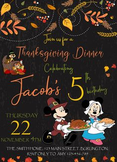 #birthdayinvitation #BIRTHDAYINVITE #MickeyMouseInvitation #mickeymouseinvite #mickeymouseparty #MickeyMouseThanksgiving #MickeyMouseThanksgivingInvitation #Thanksgiving #ThanksgivingBirthdayInvitation #Thanksgivingdinner #ThanksgivingInvitation #ThanksgivingInvite #Thanksgivingparty Thanksgiving Invitation, Thanksgiving Parties, Thanksgiving Birthday, Mickey Mouse Invitation, Kids Birthday Party Invitations, 22 November, Minnie Birthday, National Holidays, Printable Designs