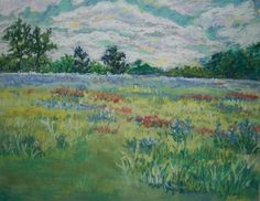 Bachelor Button Field by JUDITHANNYOUNG on Etsy