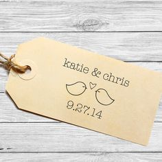 Custom wedding favor stamp or save the date by tickledpinkpaperink, $24.95