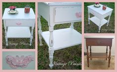 Upcycled old Ethan Allen night stand is now ready for a little girl's room.  Shabby chic, distressed with pink accents.