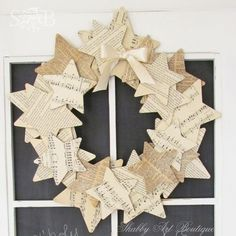 DIY book paper star wreath door hanger - paper craft, ribbon bow, vintage design: