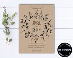 Country Wedding Invitation Template  Southern Wedding Invitations