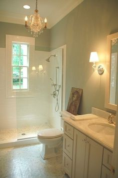 Another clean and simple bathroom. Floor tile same as shower floor to make small space look larger. White tiles on shower walls.