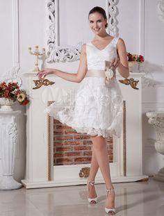 Mini robe de mariée en dentelle col V avec ruban à nœud - Milanoo.com