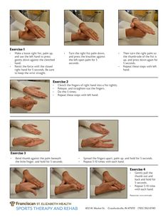 Exercises for carpal tunnel by Renuka Sathyamurthy, OTR, an occupational therapist with Franciscan St. Elizabeth Health Sports Therapy and Rehab in Crawfordsville, IN.
