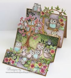 Designs by Marisa: Heartfelt Creations -Owl Hangout Step Card Mehr Fun Fold Cards, 3d Cards, Folded Cards, Side Step Card, Heartfelt Creations Cards, Owl Card, Step Cards, Shaped Cards, Graphic 45