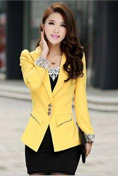 Aliexpress.com: Comprar Primavera 2016 nueva moda americana blanca para mujeres chaqueta delgada para mujer blazers y chaquetas más tamaño para juego de la señora blazers amarillo de moda chaqueta blanca fiable proveedores en Online Store 926713