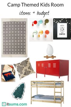 Fun and easy items to transform your child's room into a camp-themed room! Work on your budget to create your space!