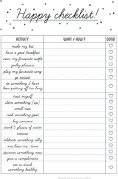 Free daily happy checklist