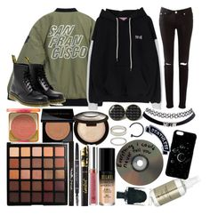 """""""Two looks, one jacket pt. 2// """"I've done some thinking of my own, and when I come home, I wanna be done, don't wanna be famous no more"""""""" by thelyricsmatter ❤ liked on Polyvore featuring MILK MAKEUP, Pixi, Chicnova Fashion, NARS Cosmetics, Dr. Martens, Morphe, Anastasia Beverly Hills, tarte, Too Faced Cosmetics and Smashbox"""